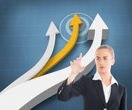 Businesswoman pointing somewhere Stock Photography