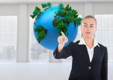 Businesswoman pointing somewhere Stock Photo