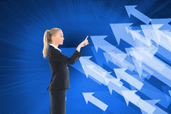 Businesswoman pointing somewhere Royalty Free Stock Image