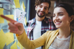 Businesswoman pointing at sticky notes while explaining colleague Royalty Free Stock Photo