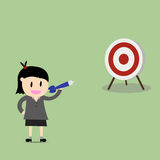 businesswoman pointing in a target board. Royalty Free Stock Photography