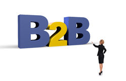 Businesswoman pointing to b2b. Businesswoman pointing to big b2b symbol, 3d render Royalty Free Stock Images