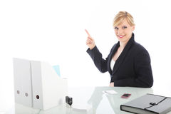 Businesswoman pointing to blank copy space Stock Photos