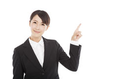 businesswoman pointing to copy space Stock Image