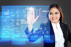 Businesswoman pointing to a graph on transparent touchscreen Royalty Free Stock Photos