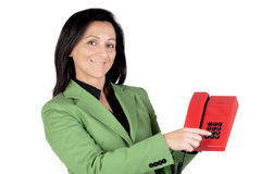 Businesswoman pointing to the keys on a phone Stock Photography