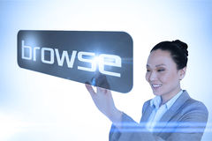 Businesswoman pointing to word browse Royalty Free Stock Photo