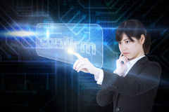Businesswoman pointing to word confirm Royalty Free Stock Photo