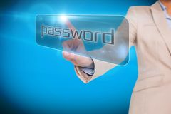 Businesswoman pointing to word password Stock Images