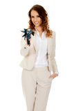 Businesswoman pointing with umbrella. Stock Image
