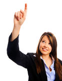 Businesswoman pointing up Stock Image
