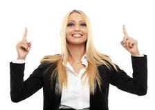 Businesswoman pointing up Royalty Free Stock Photography