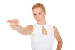 Businesswoman pointing at the viewer Stock Photography