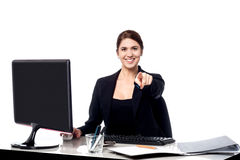 Businesswoman pointing at the viewer in her office Royalty Free Stock Photo