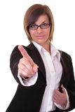 Businesswoman pointing on white Stock Images