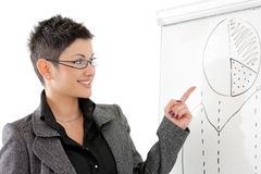 Businesswoman pointing at whiteboard Stock Photo