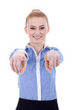 Businesswoman pointing at you Stock Photos