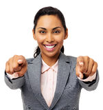 Businesswoman Pointing At You With Both Hands stock photos