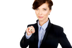 Businesswoman pointing on you with pencil. Stock Photo
