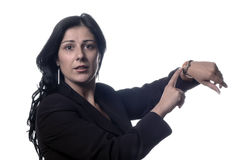Businesswoman it points with c Stock Photography