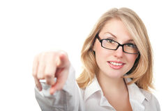 Businesswoman points a finger Stock Photos