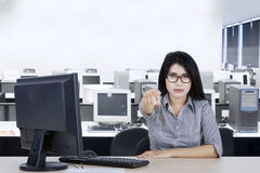 Businesswoman points her finger at you Royalty Free Stock Photo