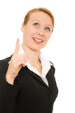 Businesswoman points his finger upward Royalty Free Stock Images