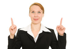 Businesswoman points his finger upward Royalty Free Stock Photos