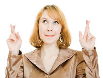 Businesswoman points his finger upward. Stock Photos