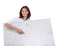 Businesswoman points to map Royalty Free Stock Images