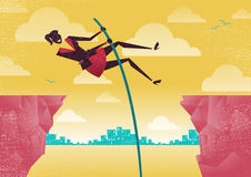 Businesswoman Pole Vaults from Clifftop to Safety. Royalty Free Stock Images