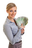 Businesswoman with polish zloty Stock Photography