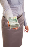 Businesswoman with polish zloty Stock Photo