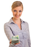 Businesswoman with polish zloty Stock Images
