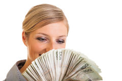 Businesswoman with polish zloty Royalty Free Stock Photography