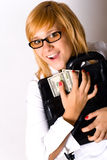 Businesswoman with portfolio and money Stock Images