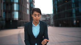 Businesswoman portrait. Negation and disapproval. Swear and cuss. POV. Portrait of young attractive sexy caucasian businesswoman Swear and cuss on You. Pomade stock video
