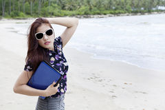 Businesswoman posing at beach Royalty Free Stock Image