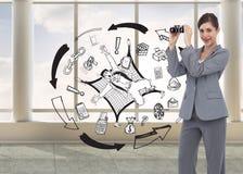 Businesswoman posing with binoculars Stock Photos