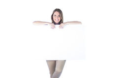 Businesswoman posing with a blank sign Royalty Free Stock Images