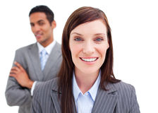 Businesswoman posing in front of her colleague Royalty Free Stock Images