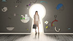 Businesswoman posing in glowing keyhole surrounded by animations stock footage