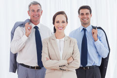 Businesswoman posing with her work team Royalty Free Stock Image