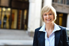 Businesswoman posing at outdoors Royalty Free Stock Image