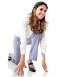 Businesswoman in position to run Royalty Free Stock Image