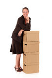 Businesswoman Postal  Package Royalty Free Stock Photography