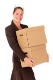 Businesswoman Postal  Package Royalty Free Stock Photos