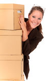 Businesswoman Postal  Package Royalty Free Stock Images