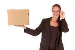 Businesswoman Postal  Package Stock Photography