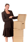 Businesswoman Postal  Package Royalty Free Stock Image